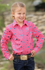 Cruel Girl Girl's Long Sleeve Print Button Down Western Shirt - Pink (Closeout)