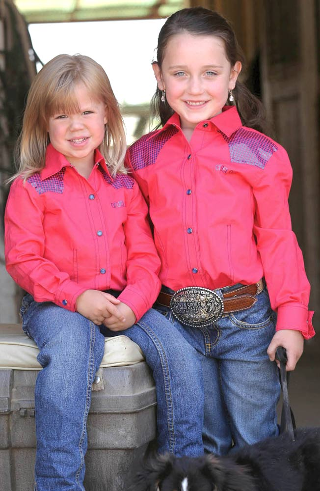 Cruel Girl Girls Long Sleeve Solid Snap Western Shirt - Red (Closeout)