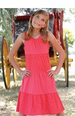 Cruel Girl Girls Tank Top Solid Cheetah Print Tiered Dress - Coral (Closeout)