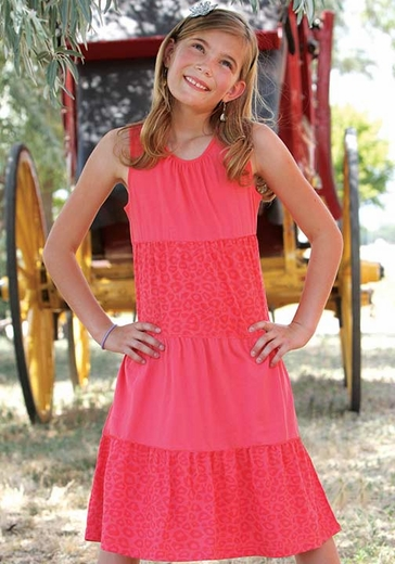 Cruel Girl Girls Tank Top Solid Cheetah Print Tiered Dress - Coral
