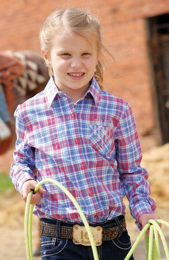 Cruel Girl Girls Long Sleeve Plaid Button Down Western Shirt - Purple