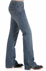 Cruel Girl Jeans - Georgia RELAXED FIT Jean (Medium Stonewash / Sandblast) (Closeout)