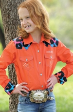 Cruel Girl Long Sleeve Print Snap Western Shirt - Orange (Closeout)