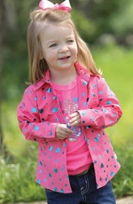 Cruel Girl Toddlers Long Sleeve Print Button Down Western Shirt - Pink (Closeout)