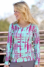 Cruel Girl Women's Long Sleeve Athletic Tech Fabric Top - Mint/Pink