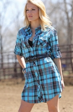 Cruel Girl Women's Long Sleeve Plaid Button Down Dress - Blue (Closeout)