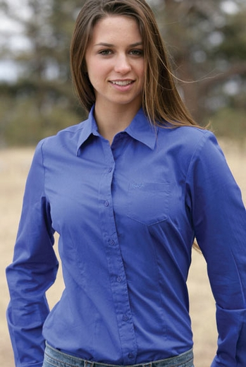 Cruel Girl Women's Solid Button Down Shirt - Blue (Discontinued)