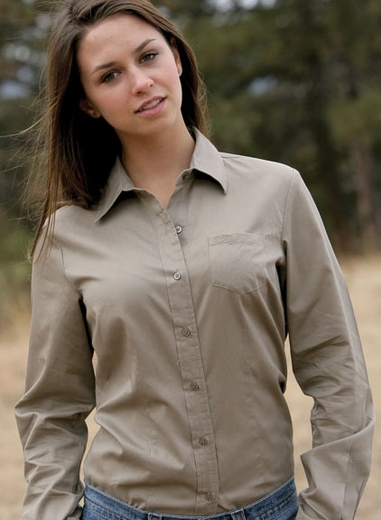 Cruel Girl Women's Solid Western Button Down Shirt - Khaki