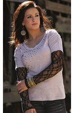 Cruel Girl Women's Studded Jersey Shirt with Lace Sleeves - Grey (Closeout)