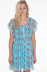 Cruel Girl Womens Chiffon Flutter Sleeve Dress - Teal (Closeout)