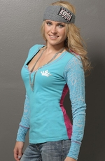 Cruel Girl Womens Long Sleeve Burnout Top - Aqua