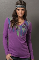 Cruel Girl Womens Long Sleeve Feather Top - Purple