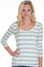 Cruel Girl Womens Long Sleeve Watercolor Striped Top - Green (Closeout)