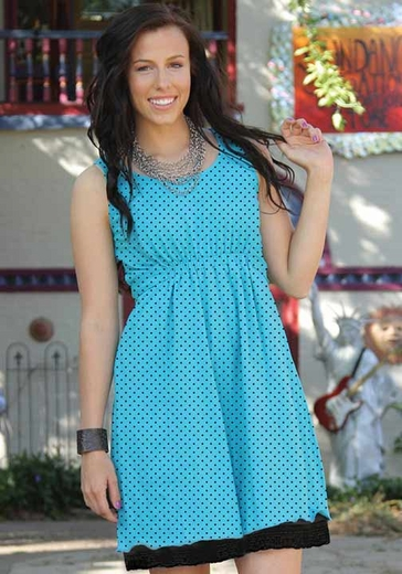 Cruel Girl Womens Polka Dot Tank Top Dress with Lace Trim - Aqua (Closeout)