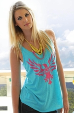 Cruel Girl Womens Printed Racerback Tank Top - Teal