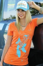 Cruel Girl Womens Printed V-Neck Tee Shirt - Orange