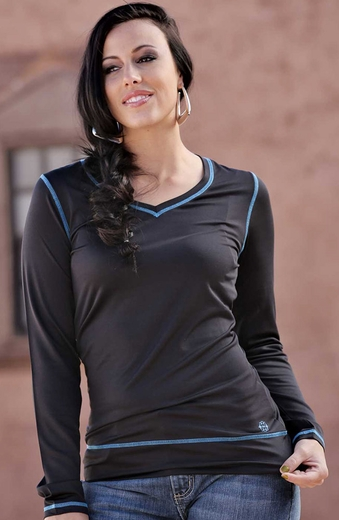 Cruel Girl Womens Long Sleeve Athletic Shirt - Black (Closeout)