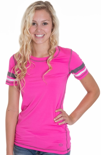Cruel Girl Womens Short Sleeve Athletic Shirt - Pink (Closeout)