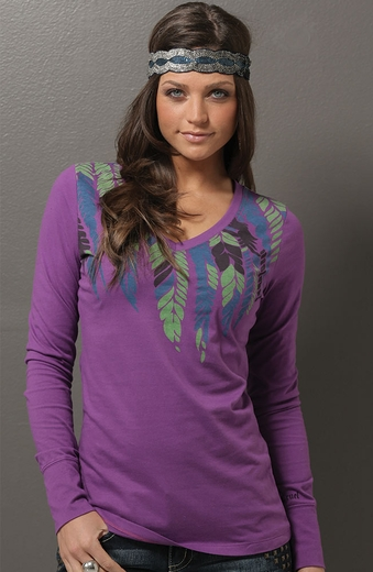 Cruel Girl Womens Long Sleeve Feather Top - Purple (Closeout)