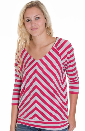 Cruel Girl Womens Striped Top - Pink (Closeout)