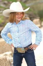 Cruel Girls Girl's Long Sleeve Stripe Snap Western Shirt - White