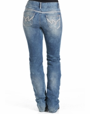 Cruel Women's Abby Mid Rise Slim Fit Boot Cut Jeans - Medium Stonewash