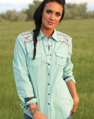 Cruel Women's Long Sleeve Arena Fit Embroidered Stripe Snap Shirt - Turquoise