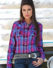 Cruel Women's Long Sleeve Arena Fit Plaid Snap Shirt - Fuchsia