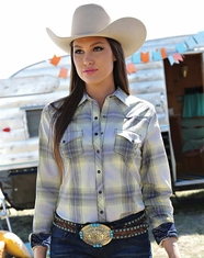 Cruel Women's Long Sleeve Arena Fit Plaid Snap Shirt - Navy (Closeout)