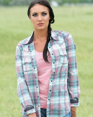 Cruel Women's Long Sleeve Arena Fit Plaid Snap Shirt - Pink