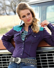 Cruel Women's Long Sleeve Arena Fit Solid Lace Snap Shirt - Purple
