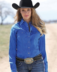 Cruel Women's Long Sleeve Arena Fit Solid Snap Shirt - Royal (Closeout)
