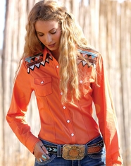 Cruel Women's Long Sleeve Arena Fit Tribal Snap Shirt - Orange