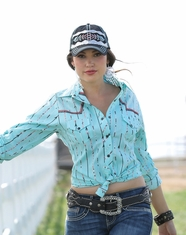 Cruel Women's Long Sleeve Printed Snap Shirt - Blue (Closeout)