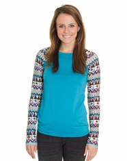 Cruel Women's Long Sleeve Tribal Athletic Shirt - Blue (Closeout)