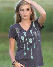 Cruel Women's Short Sleeve Arrow Print Top - Grey