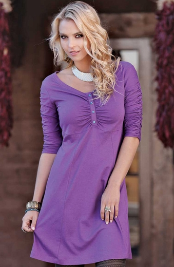 Cruel Girl Womens Jersey Scoop Neck Dress - Purple