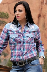 Cruel Womens Long Sleeve Contrast Plaid Snap Western Shirt - Purple (Closeout)