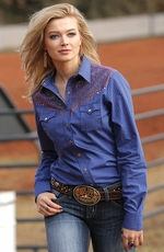 Cruel Womens Long Sleeve Copper Overlay Snap Western Shirt - Purple