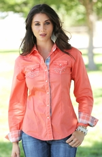 Cruel Womens Long Sleeve Embroidered Solid Snap Western Shirt - Coral