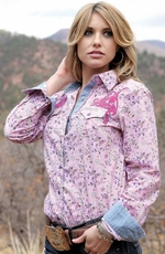 Cruel Womens Long Sleeve Floral Snap Western Shirt - Pink (Closeout)