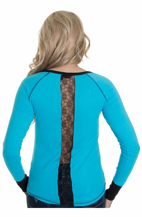 Cruel Womens Long Sleeve Jersey Top with Lace - Blue