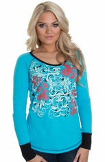 Cruel Womens Long Sleeve Jersey Top with Lace - Blue (Closeout)