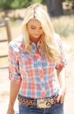 Cruel Womens Long Sleeve Plaid Button Western Shirt - Coral