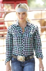 Cruel Womens Long Sleeve Plaid Snap Western Shirt - Mint