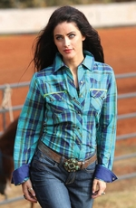 Cruel Womens Long Sleeve Plaid Snap Western Shirt - Teal (Closeout)