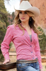 Cruel Womens Long Sleeve Print Button Down Western Shirt - Pink
