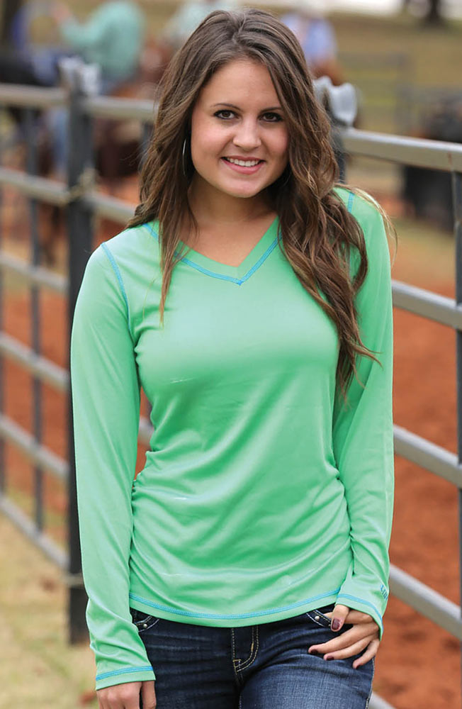Cruel Womens Long Sleeve Ruched Athletic Shirt - Green
