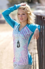 Cruel Womens Long Sleeve Sequin Snake Print Top - Turquoise (Closeout)