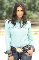 Cruel Womens Long Sleeve Solid Glitter Snap Western Shirt - Mint